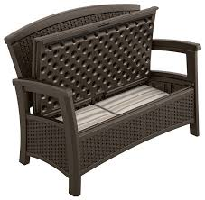 Storage For Patio Cushions Suncast Elements Outdoor Furniture Loveseat With Storage Suncast
