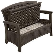 Patio Furniture Storage Bench Suncast Elements Outdoor Furniture Loveseat With Storage Suncast
