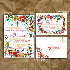 Post Card Invitations Hand Painted Floral Wedding Invitation Garden Wedding Rsvp