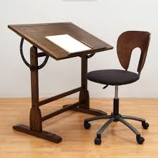 Office Table And Chair Set by Studio Designs 42 In Rustic Oak Vintage Drafting Table And Chair