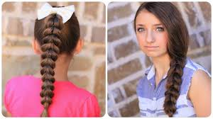 simple hairstyles with one elastic pull through braid easy hairstyles cute girls hairstyles