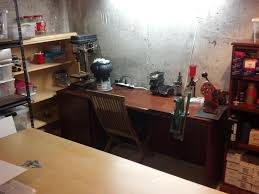 simple office in unfinished basement home decor interior exterior