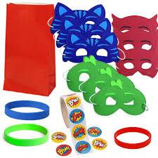 Favor Set by 12 Guest Favor Set Green Blue Masks Favor Bags