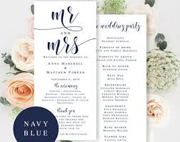 bling wedding programs navy wedding program etsy