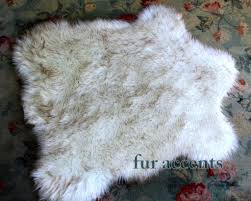 classic faux fur pelt accent rug russian wolf off white with
