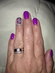gel nails purple with turquoise and pink cheetah accent nail
