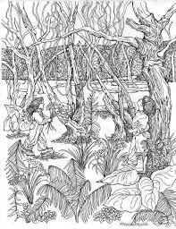 coloring page of childhood memories realistic pen drawing to