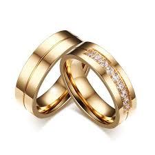 golden couple rings images Golden stripe rhinestones pave couple rings blazemall jpg
