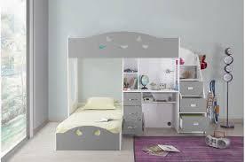 lit bureau combiné lit combiné 2 couchages bureau blanc gris raphael lit enfant