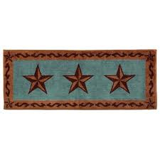 Turquoise Kitchen Rugs Star Western Bath Rug Or Kitchen Rug Turquoise 24x60