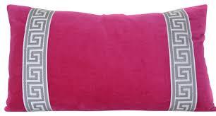 Lumbar Decorative Pillows Pink Lumbar Pillow Cover Fuchsia Velvet Pillow With Greek Key