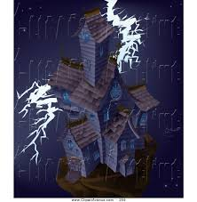 spooky clipart avenue clipart of a large haunted mansion house on top of a spooky