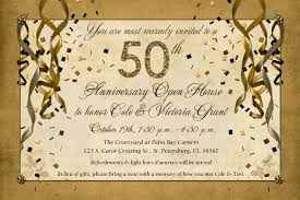 Open House Invitation Warm 50th Anniversary Open House Invitation Lovely Golden Sparkle