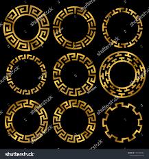 Greek Motifs Golden Ancient Greek Round Frame Ornament Stock Vector 1012185994