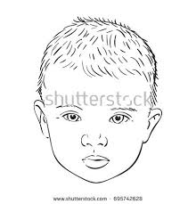 sketch baby head serious face hand stock vector 695742628