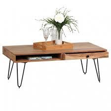 Wohnzimmertisch Metall Holz Couchtisch Massiv Holz Akazie 120 Cm Breit Wohnzimmer T