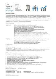 Assistant Food And Beverage Manager Resume Hotel Manager Cv Template Job Description Cv Example Resume