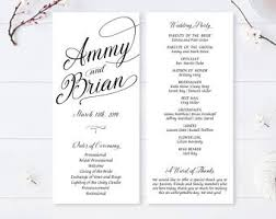 Programs For A Wedding Ceremony Printed Program Etsy