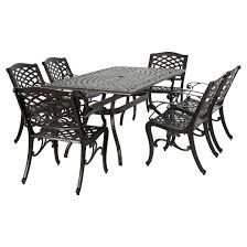 Aluminum Dining Room Chairs Hallandale Sarasota 7pc Rectangular Cast Aluminum Dining Set