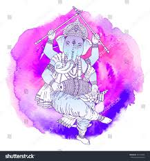 Ganesh Puja Invitation Card Hindu Lord Ganesha Watercolor Background Vector Stock Vector