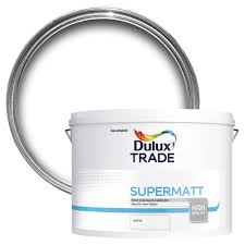 dulux trade trade white supermatt emulsion paint 10l departments