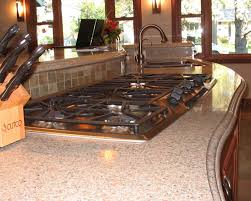 granite countertop kitchen espresso cabinets broken tile mosaic