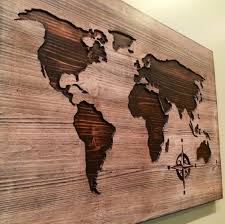 Large World Map Poster by Carved Wooden World Map Wood Wall Art World Map Home Decor