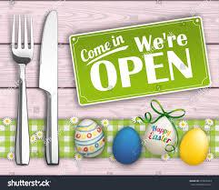 wooden easter eggs that open knife fork easter eggs open sign stock vector 591823253