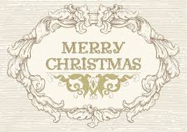 merry christmas vector retro background with ornate border