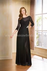 Mother Of Bride Dresses Couture by J175057 Long Boat Illusion Neckline Stretch Illusion Mob Dress