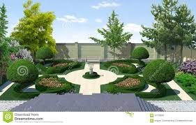 landscaping classic style topiary 3d render stock illustration