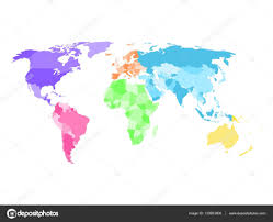 Blank Continent Map by Blank Simplified Political Map Of World With Different Colors Of