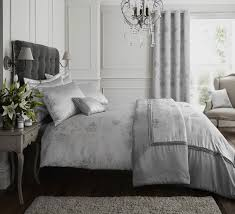 silver grey luxury duvet quilt cover bedding bed set or curtains