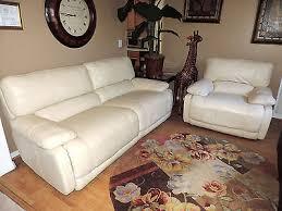 Triple Recliner Sofa by Macy U0027s Nina Cream Leather Electric Triple Reclining Sofa Chair Set