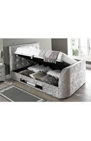super king size barnard crushed silver fabric tv ottoman storage
