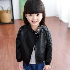 cool 2016 girls jackets kids pu leather jacket rivet
