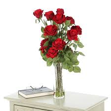 Red Flowers In A Vase Nearly Natural Roses With Cylinder Vase Silk Flower Arrangement