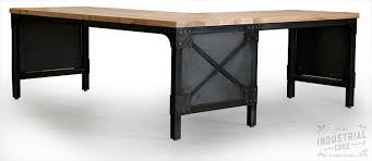 Industrial Table L Custom Industrial L Desk Solid Ash Top Real Industrial Edge