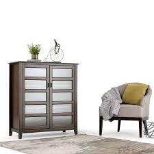Furniture With Storage Simpli Home Burlington Rich Espresso Cabinet With Storage 3axcbur