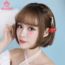 wigs short hairstyles round face usd 34 48 wig female short hair bobo head air bangs natural