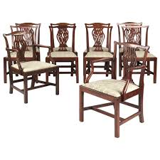 set of ten english chippendale antique mahogany dining chairs