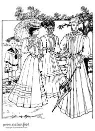 fashion coloring page dresses from the summer of 1905 print color fun free