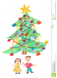 children and christmas tree drawing royalty free stock photo