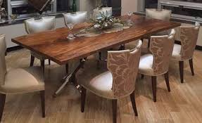 modern wood dining table natural edges stainless steel