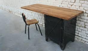 bureau industriel bois et metal bureau rb bu002 giani desmet meubles indus bois métal et cuir