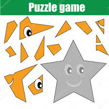 puzzle game with star shape printable kids activity sheet u2014 stock