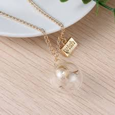 glass ball necklace images Wish quot dandelion clear glass ball pendant necklace gold tone link curb jpg