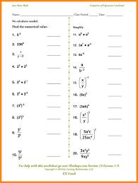 Exponents Printable Worksheets Exponent Properties Worksheet Worksheets For Dropwin