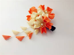 japanese hair accessories japanese traditional style kimono orange flower yukata hair