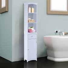 homcom bathroom storage cabinet tall towel organizer wood tower